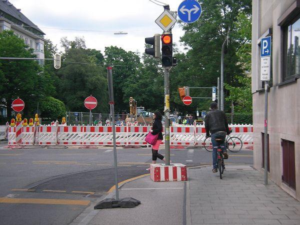 Ampel auf dem Radweg