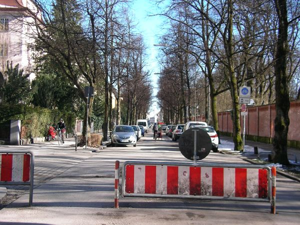 Fahrradstraße in der Münchner Adalbertstraße