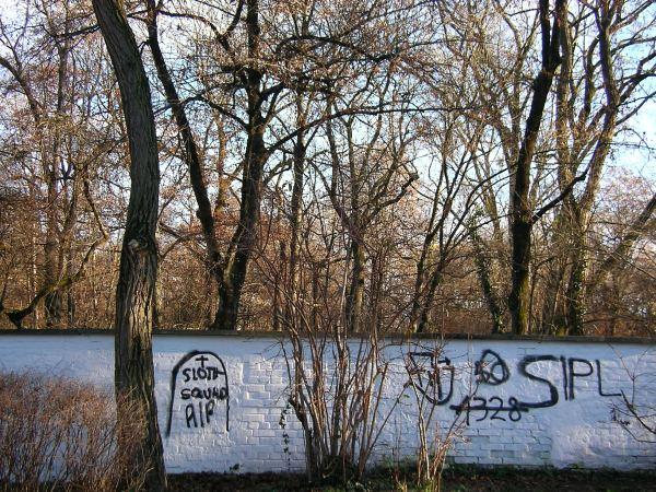Friedhofsmauer in der Wintersonne